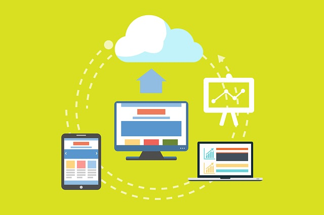 An illustration of a website being connected to other devices and Cloud, representing benefits of integrating your website with your CRM.