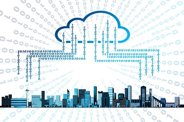 An illustration of Cloud storage receiving information in the form of 1 and 0 from an entire city.