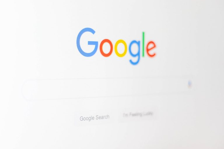 The Google homepage on a screen.